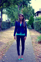 blue H&M blazer - navy Bershka jeans - ivory H&M bag - aquamarine Zara heels