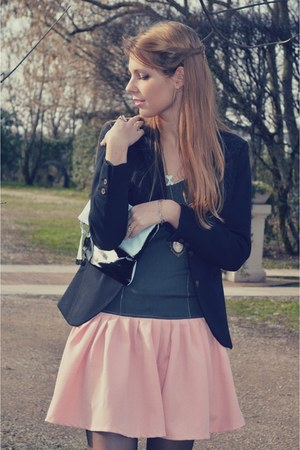 black H&M blazer - light pink Eri De Sign dress - black Calzedonia tights