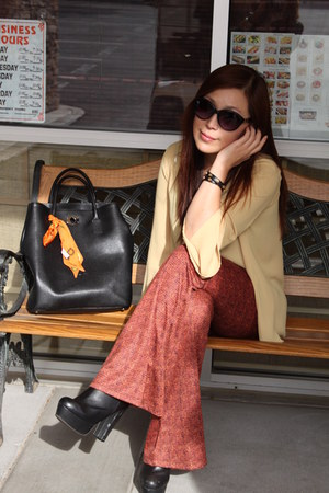 black Steve Madden boots - burnt orange Forever21 pants - mustard blouse