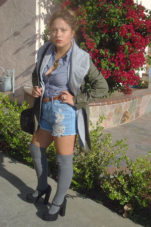 green yesstylecom jacket - blue Play Me shorts - black Forever 21 shoes - gray F