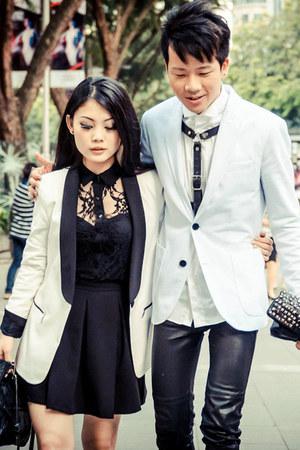 Jeffrey Campbell pumps - tuxedo blazer Zara blazer - lace shirt Zara shirt