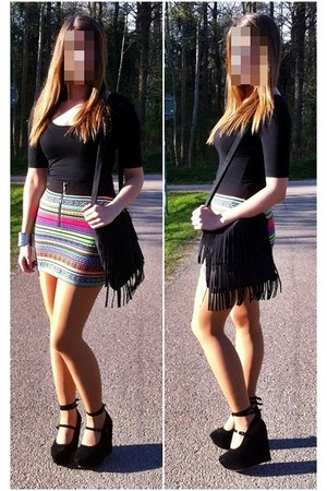 H&M skirt - lindex bag - lindex top - Nelly wedges - JFR bracelet