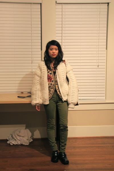 white vintage jacket - olive green True Religion jeans - dark brown ferragamo ba