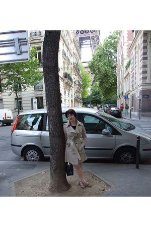 beige Tru Trussardi coat - beige H&M socks - beige Bloch shoes - black bag