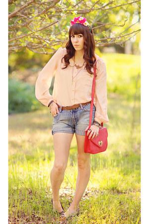 hot pink leather Forever 21 bag - sky blue cut offs DIY shorts