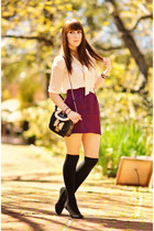 black bow OASAP bag - maroon brocade Kimchi Blue skirt