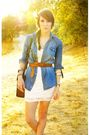Blue-shirt-white-h-m-dress-brown-belt