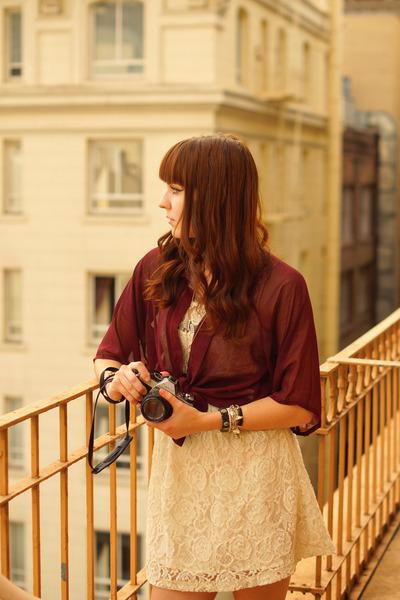 magenta chiffon Forever 21 blouse