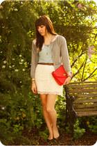 heather gray lace collar Zara sweater - aquamarine Forever 21 shirt - red leathe