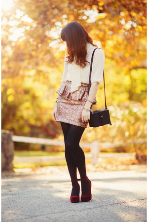 mustard sequin Nasty Gal skirt - black leather H&M bag
