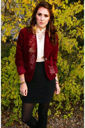 red Urban Renewal blazer - black Forever 21 skirt - black stockings - white blou