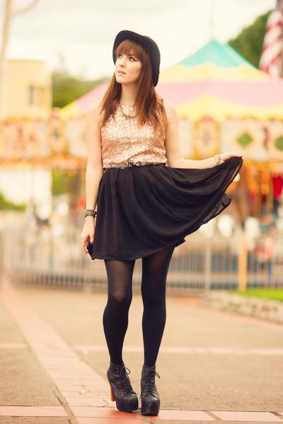 peach sequin Glamorous UK dress - black leather Jeffrey Campbell heels
