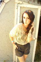beige blouse - gray shorts