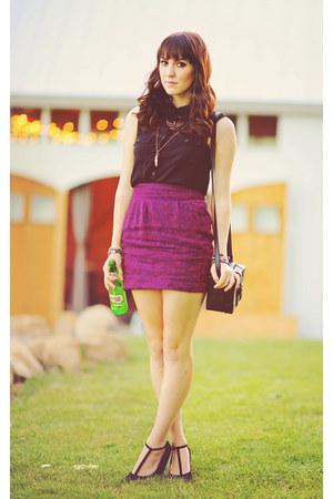 magenta brocade Urban Outfitters skirt - black chiffon Forever 21 shirt