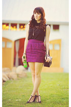 magenta brocade Urban Outfitters skirt - black chiffon Forever 21 shirt