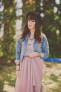 Light-pink-chiffon-oasap-skirt-light-blue-denim-forever-21-jacket