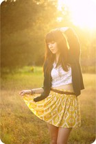 green vintage Pendelton cardigan - ivory lace vintage blouse - yellow tribal For
