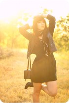 black cotton Urban Outfitters dress - black leather forever jacket - black leath