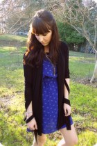 blue bows Forever 21 dress - black Foreverv21 cardigan