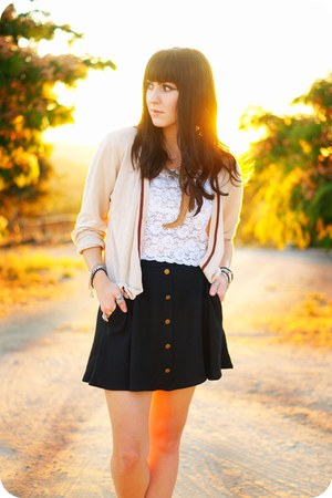 white lace vintage loafers - camel petes cardigan cardigan - black skirt