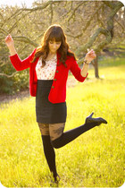 white floral print shirt - red urbanoutfitters cardigan - black skirt