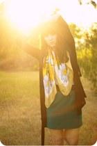 light yellow silk echo scarf - teal Forever 21 skirt - black cotton Forever 21 c