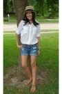 White-forever-21-blouse-blue-american-eagle-shorts-brown-american-eagle-belt