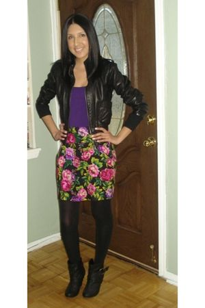 black Wet Seal jacket - purple skirt - black Express tights - black boots - purp