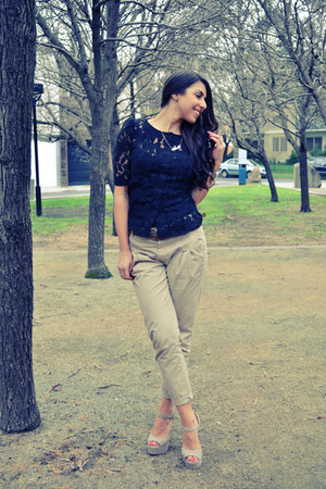 black lace top portmans top - tan Zara pants - tan Steve Madden heels