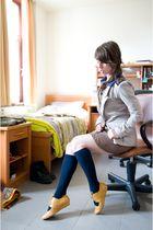 gold shoes - blue socks - silver blazer - brown dress