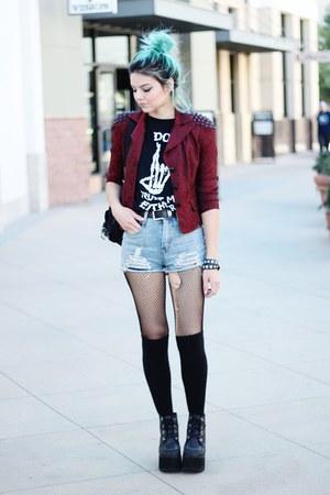 TUK boots - black UNIF shirt - style moi shorts