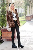 leopard print thrifted vintage coat - Steve Madden boots - OASAP sweater