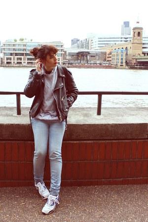 leather Leather jacket jacket - grey Converse sweatshirt