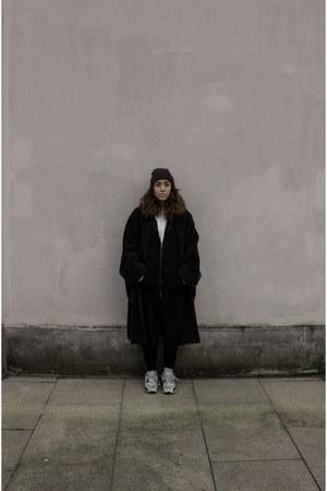 thrifted vintage coat - H&M hoodie - nike sneakers