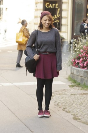 charcoal gray H&M sweater - brick red H&M skirt - brick red Vans sneakers