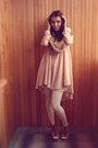 Neutral-h-m-dress-camel-handmade-scarf-bubble-gum-marmalato-ring-bronze-bo