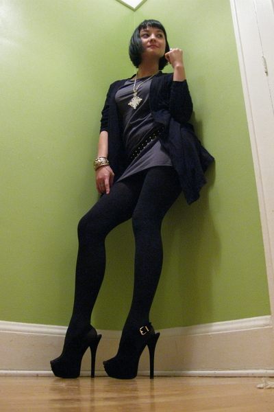 black thrifted cardigan - gray American Apparel dress - black random tights - bl