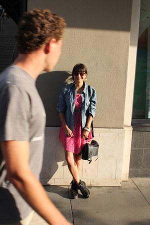 hot pink lace flea market dress - black Dr Martens boots