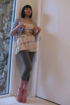 Express top - Leopard cardigan sweater - f21 leggings - thrifted belt - Oversize