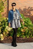 blue Levis jacket - white vintage dress - black Steven shoes - gold vintage neck