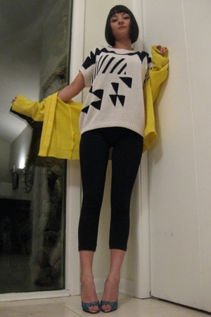 thrifted sweater - thrifted sweater - f21 leggings - Christian Louboutin shoes