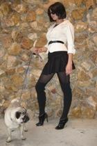 beige dvf blazer - black f21 skirt - black f21 tights - black Manolo Blahnik sho