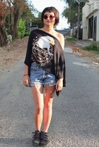 black asis top - black rag & bone boots - blue vintage calvin klein shorts