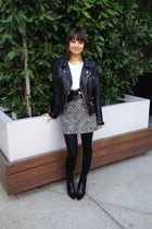 black Chanel boots - black vintage belt - black patterned H&M skirt