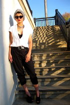 white vintage hat - black Fendi shoes - white f21 shirt - black thrifted belt