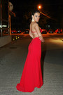 Red-personal-creation-dress-swarovski-bracelet-roma-earrings