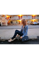 denim H&M jacket - Gap shirt - floral Tamaris heels