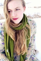 olive green Target scarf - crimson vintage dress