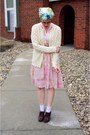 Light-pink-vintage-dress-light-blue-vintage-scarf-ivory-vintage-cardigan