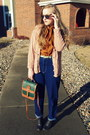 Navy-vintage-jeans-forest-green-dooney-and-bourke-bag